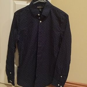 Express, polka dot button down shirt